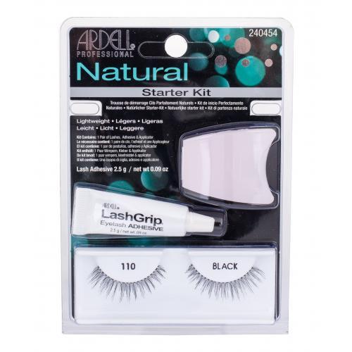 Ardell Natural 110 dárková kazeta umělé řasy 1 pár + lepidlo na řasy LashGrip 2,5 g + aplikátor 1 ks pro ženy Black