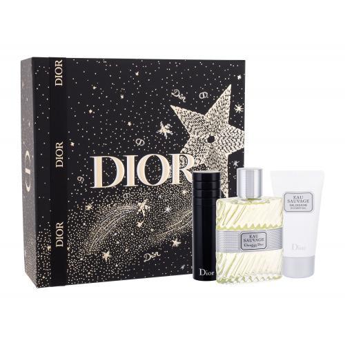 Christian Dior Eau Sauvage dárková kazeta toaletní voda 100 ml + sprchový gel 50 ml + toaletní voda naplnitelná 10 ml M