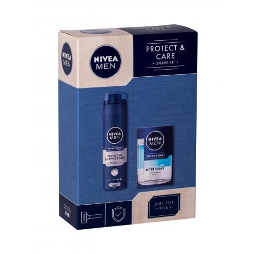 Nivea Men Protect & Care dárková kazeta poškozená krabička pečující voda po holení 2v1 100 ml + pěna na holení 200 ml M