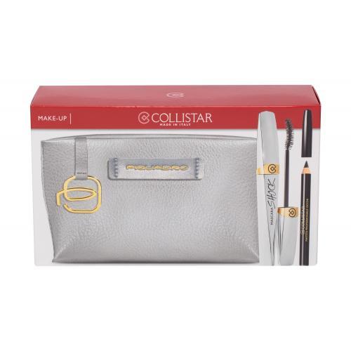Collistar Shock dárková kazeta řasenka 8 ml + tužka na oči 2 g Black + kosmetická taštička Piquadro pro ženy Black Shock