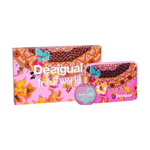Desigual Fresh World dárková kazeta toaletní voda 100 ml + kosmetická taška pro ženy