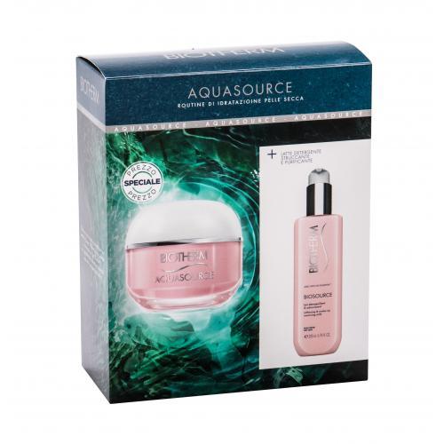 Biotherm Aquasource dárková kazeta denní pleťová péče 50 ml + čisticí pleťové mléko Biosource 200 ml pro ženy