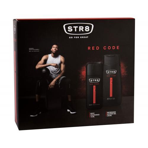 STR8 Red Code dárková kazeta deodorant 75 ml + sprchový gel 250 ml pro muže