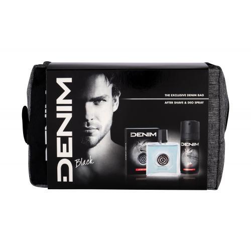 Denim Black dárková kazeta voda po holení 100 ml + deodorant 150 ml + kosmetická taška pro muže