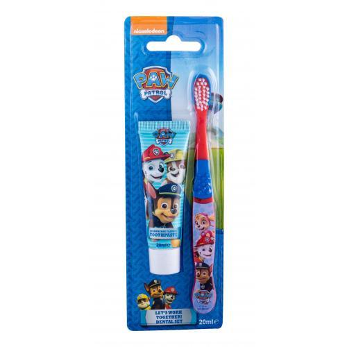Nickelodeon Paw Patrol dárková kazeta zubní kartáček + zubní pasta 20 ml pro děti