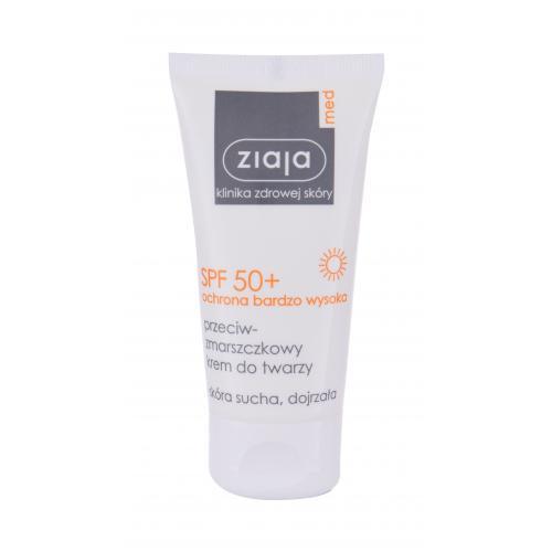 Levně Ziaja Med Protective Anti-Wrinkle SPF50+ 50 ml opalovací přípravek na obličej pro ženy s ochranným faktorem SPF