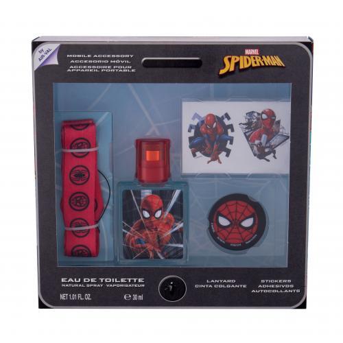 Marvel Spiderman dárková kazeta toaletní voda 30 ml + samolepky + klíčenka + držák na mobil pro děti