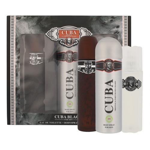Cuba Black dárková kazeta toaletní voda 100 ml + voda po holení 100 ml + deodorant 200 ml pro muže
