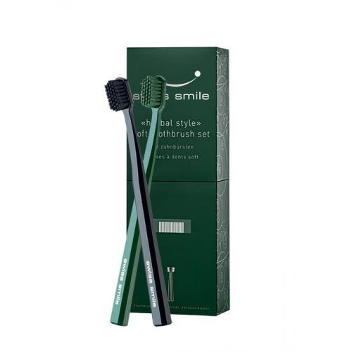 swiss smile Herbal Style dárková kazeta měkký zubní kartáček Black 1 ks + měkký zubní kartáček Green