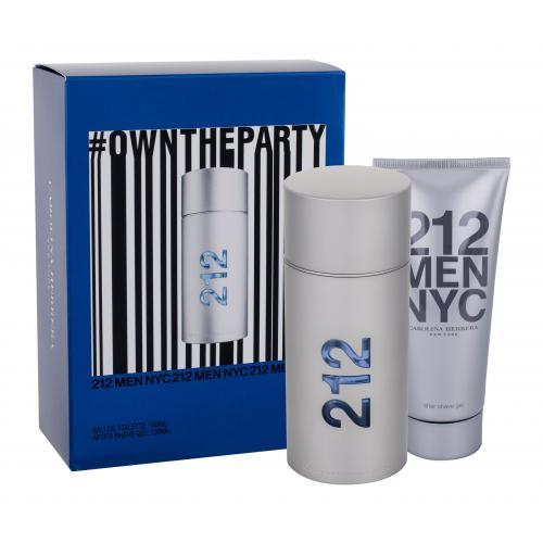 Carolina Herrera 212 NYC Men dárková kazeta toaletní voda 100 ml + gel po holení 100 ml pro muže