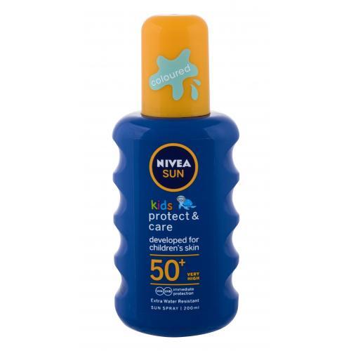 Nivea Sun Kids Protect & Care Sun Spray SPF50+ 200 ml voděodolný barevný sprej na opalování pro děti