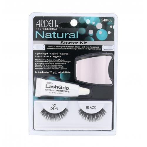 Ardell Natural Demi 101 dárková kazeta umělé řasy 1 pár + lepidlo na řasy LashGrip 2,5 g + aplikátor 1 ks pro ženy Black